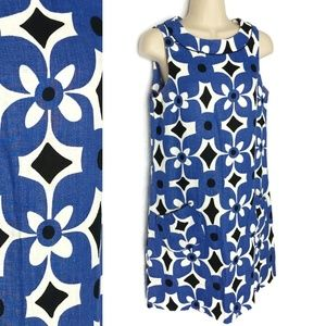 MNG Mango Linen 60s Mod Printed Shift Dress Sz 4
